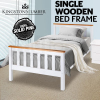 Single Wooden Bed Frame Base White Timber Kids Adults Modern Bedroom Furniture
