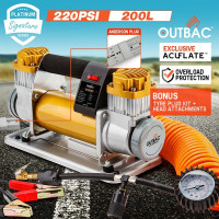 OUTBAC Portable Air Compressor 220PSI 12V 200L Tyre Deflator - Platinum Series
