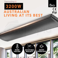 BIO 3200W Outdoor Strip Heater Electric Infrared Radiant Slimline Panel Heat Bar