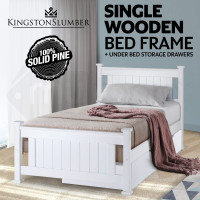 Kingston Slumber Contemporary Classic Single Wooden Bed Frame with Trundle Drawer