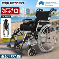"EQUIPMED 24"" Folding Wheelchair Alloy with Brakes Folding Armrests for Dining"