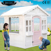White Wooden Cottage Kids Playset Cubby House