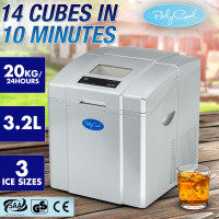 POLYCOOL 3.2L Portable Ice Cube Maker Machine Commercial Automatic Home Fast