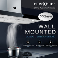 EuroChef Stainless Steel 900MM Wall Mounted Rangehood Classic T-Style