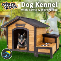 Dog Kennel with Bowl and Storage Box