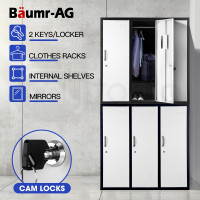 Baumr-AG 6-Door Steel Storage Locker Metal Cabinet Gym Office School Home Shed