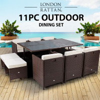 LONDON RATTAN Wicker 11 PCS Outdoor Dining Furniture Set Garden Table Chairs PE