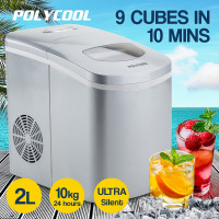POLYCOOL 2L Portable Ice Maker Automatic Machine Home Quick Fast Fridge Silver