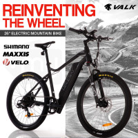 "VALK eMTB Maxxis Velo Shimano 36V 250W Electric Mountain Bike eBike 26"" Black - MX6"