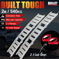 BULLET 2 x 2M Loading Ramp Aluminium Folding ATV Quad Bike Golf Buggy Pair Ramps