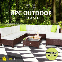 LONDON RATTAN Modular Sofa Outdoor Lounge Furniture 8pc Wicker Brown Cream