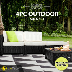 LONDON RATTAN 4pc Outdoor Furniture Setting Lounge Wicker Sofa Set Patio Black