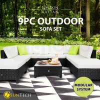 LONDON RATTAN Modular Sofa Outdoor Lounge Set 9pc Wicker Black Light Grey