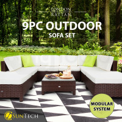 LONDON RATTAN 9pc Outdoor Furniture Setting Wicker Lounge Brown Patio Sofa Set