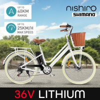 Nishiro e-bike Electric Ebike - Vintage Ladies Battery Pedelec Bicycle E bike