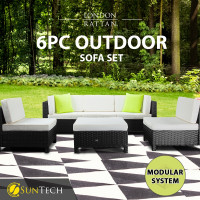 LONDON RATTAN Modular Sofa Outdoor Setting Furniture 6pc Wicker Black Light Grey