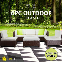 LONDON RATTAN Modular Sofa Outdoor Setting Lounge Set 6pc Wicker Black Light Grey