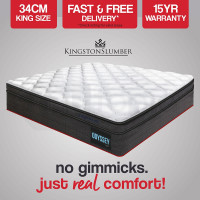 KINGSTON Mattress KING Size Bed Euro Top Pocket Spring Bedding Firm Foam 34CM