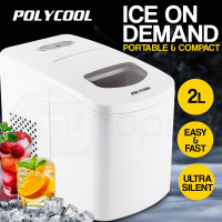 POLYCOOL 2L Portable Ice Maker Automatic Machine Home Quick Fast Fridge - White