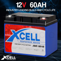 X-Cell 60Ah AGM Deep Cycle Battery 12v for Golf Cart, Mobility Scooter, Camping