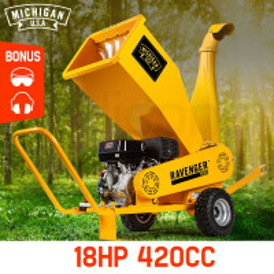 MICHIGAN 18HP 420cc Commercial Petrol Wood Chipper Mulcher - Ravenger