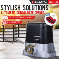 E-GUARD Automatic Sliding Gate Opener 6m 1500kg Auto Motorised Remote Control Kit