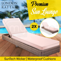 2x LONDON RATTAN Wicker Outdoor Sun Lounge 2pcs Pool Garden Furniture Bed Sofa