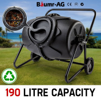 190L Aerated Compost Tumbler Bin Food Waste Garden Recycling Composter - PRE-ORDER - Shipping from 08/07
