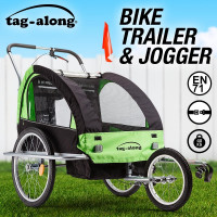 Tag-along Kids Bike Trailer Bicycle Pram Stroller Children Jogger Green