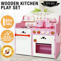 White/Pink Wooden Kids Playset Toy Kitchen