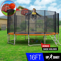 16ft Round Trampoline Basketball Set Safety Net Spring Pad Ladder