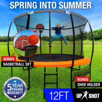 12ft Round Trampoline Basketball Set Safety Net Ladder Spring Pad