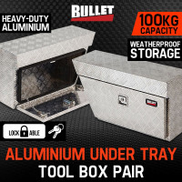 BULLET Pair of Under Tray Ute Tool Boxes Aluminium Vehicle Box Body Toolbox