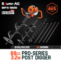 Baumr-AG Post Hole Digger 88CC Posthole Earth Auger Fence Borer Petrol Drill Bit