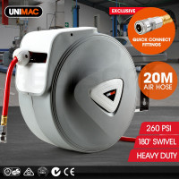 UNIMAC 20m Retractable Air Hose Reel Compressor Wall Mounted Auto Rewind