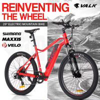 "VALK eMTB Maxxis Shimano Velo 36V 250W Electric Mountain Bike eBike 29"" Red - MX9"