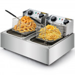 EuroChef Commercial Electric Deep Fryer Twin Frying Basket Chip Cooker Fry