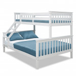 2in1 Single on Double Bunk Bed Kids White Solid Wood Timber Loft Furniture Slats