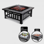 3 in 1 Square Portable Outdoor Fire Pit BBQ