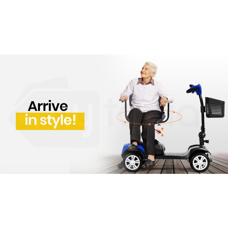 EQUIPMED FreeRoam Electric Motorised Mobility Scooter, Blue by Equipmed
