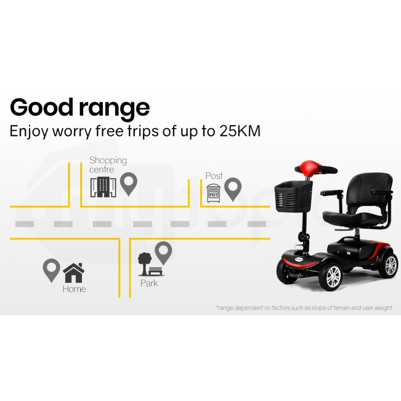 EQUIPMED FreeRoam Electric Motorised Mobility Scooter, Red by Equipmed