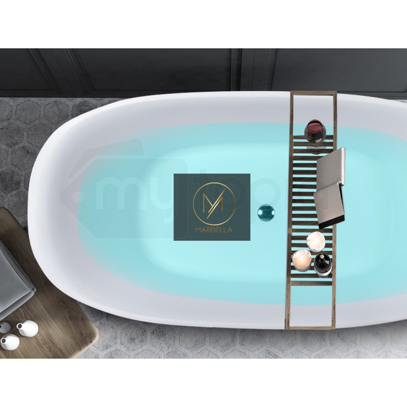 MARBELLA 1600x800x580 Bathtub Matte White Oval Shaped Freestanding Acrylic						 by Marbella
