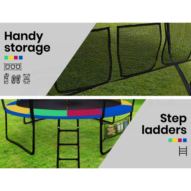 UP-SHOT 14ft Round Kids Trampoline with Curved Pole Design and Basketball Set, Black and Multi-colour by Up-Shot