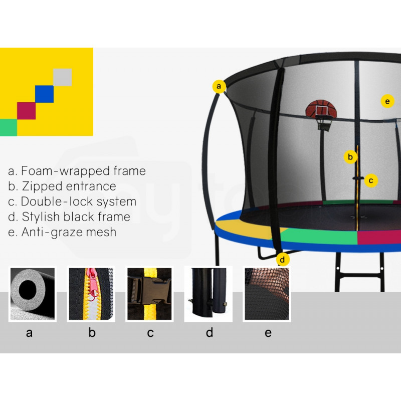 UP-SHOT 12ft Round Kids Trampoline with Curved Pole Design and Basketball Set, Black and Multi-colour by Up-Shot