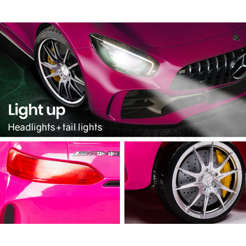 Kids Ride On Car Licensed Mercedes-Benz AMG GTR Electric Toy Battery Remote Pink by Rovo Kids