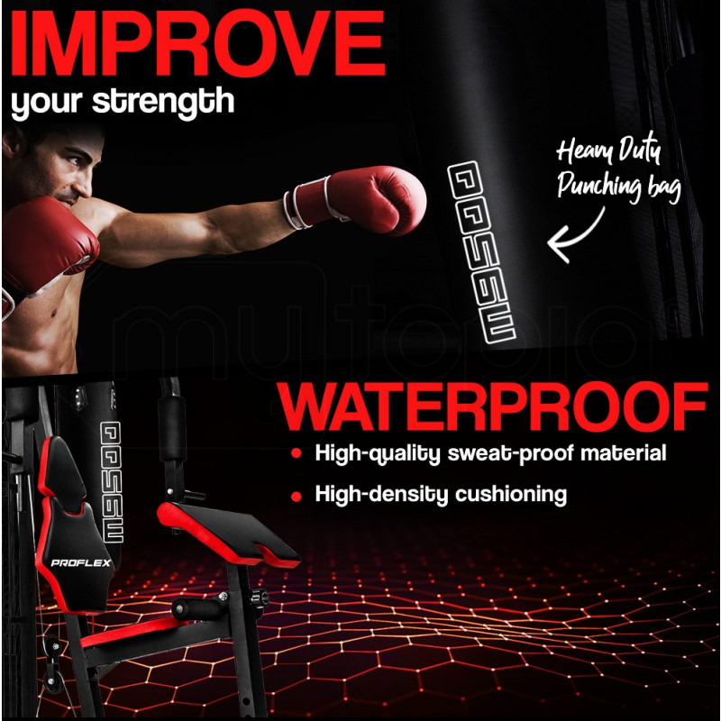 Proflex Red Multi Station Home Gym Set with 45kg Plates & Boxing Bag- M9500 by Proflex