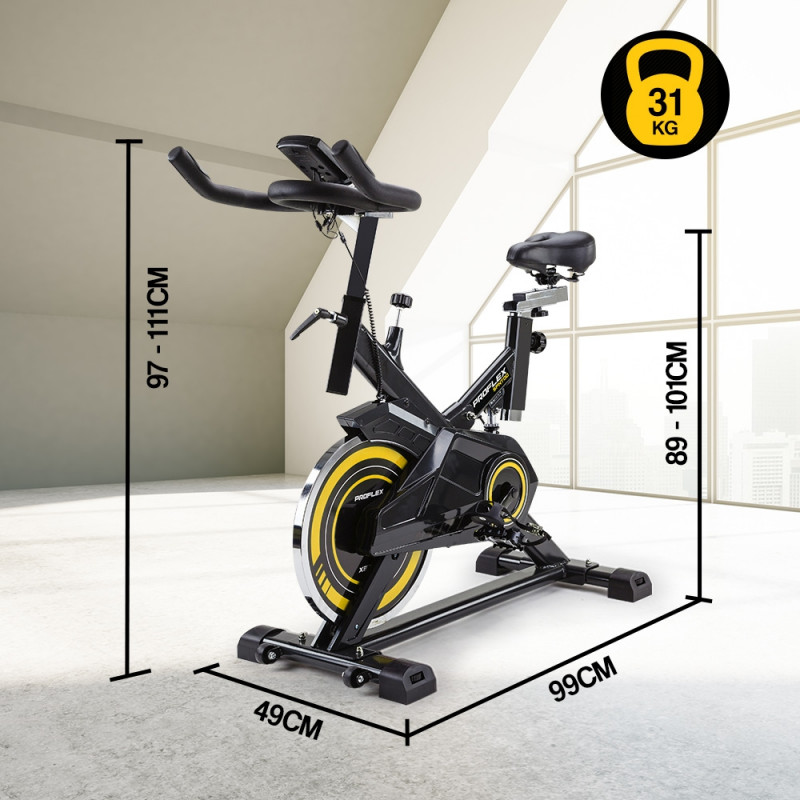 PROFLEX Commercial Spin Bike Flywheel Exercise Workout Home Gym Yellow by Proflex