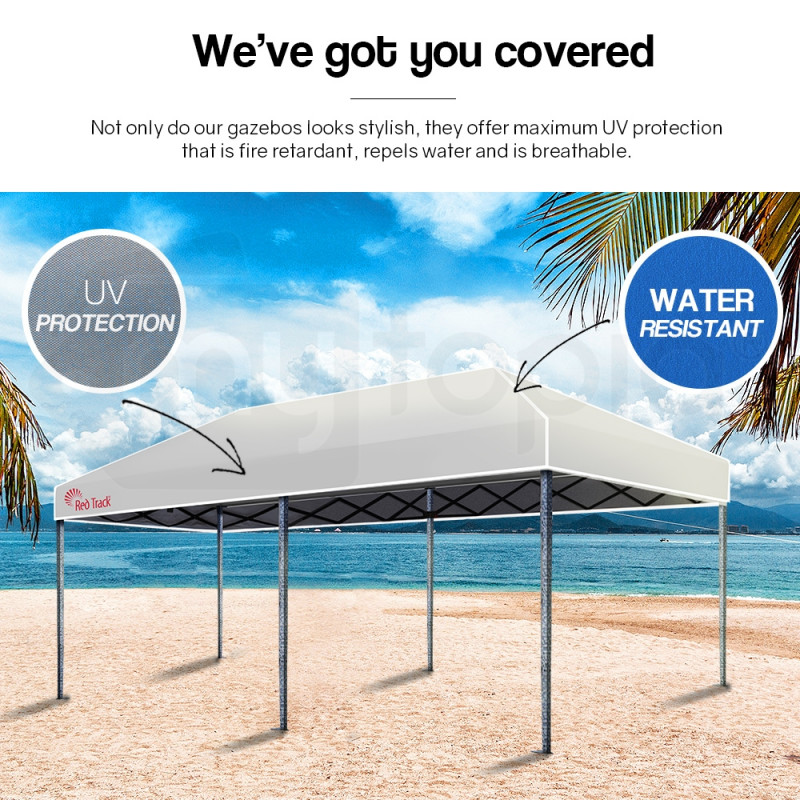 Red Track 3x6m Folding Gazebo Shade Outdoor WHITE Foldable Marquee Pop-Up by Red Track