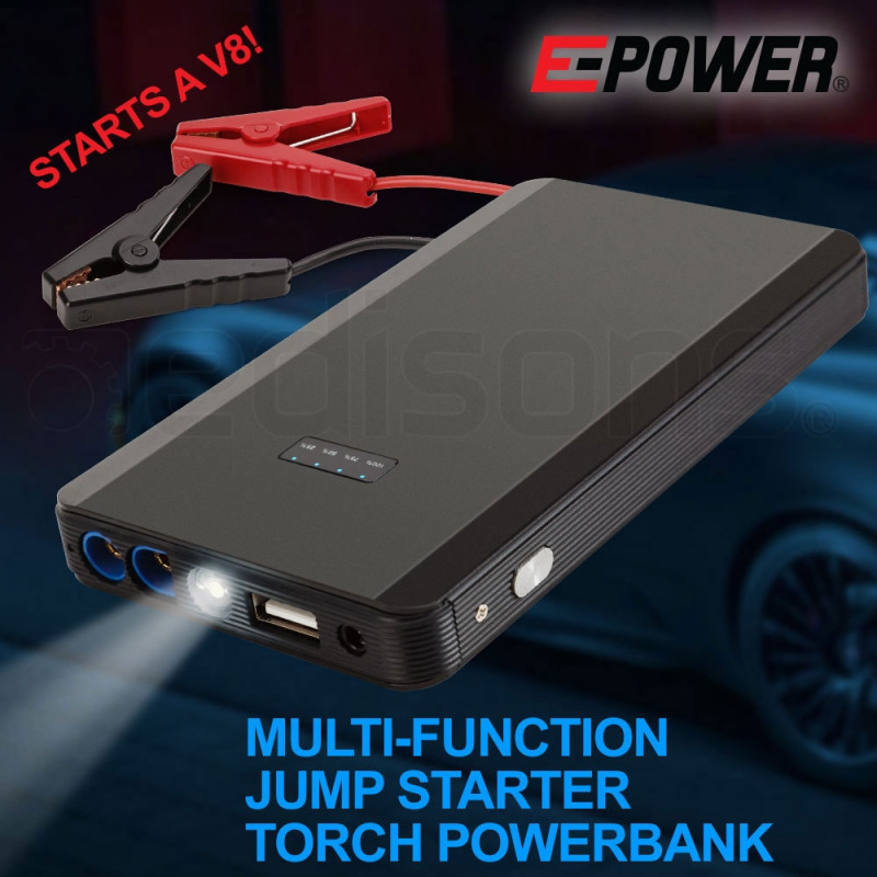 E-POWER Portable Car Vehicle Jump Starter Battery 12V Torch Emergency Lithium by E-Power