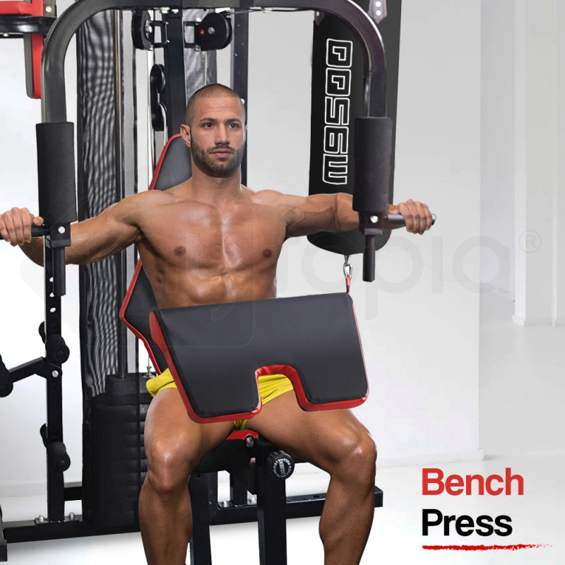 Proflex Red Multi Station Home Gym Set with 56kg Plates & Boxing Bag- M9500 by Proflex